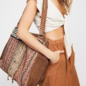 NEW Free People New Hope leather tapestry tote bag